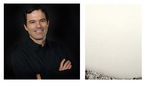 "(left) Francisco Souto; (right) Souto's ""Cityscape No. 2, Zacatecas, Mexico,"" 2012."