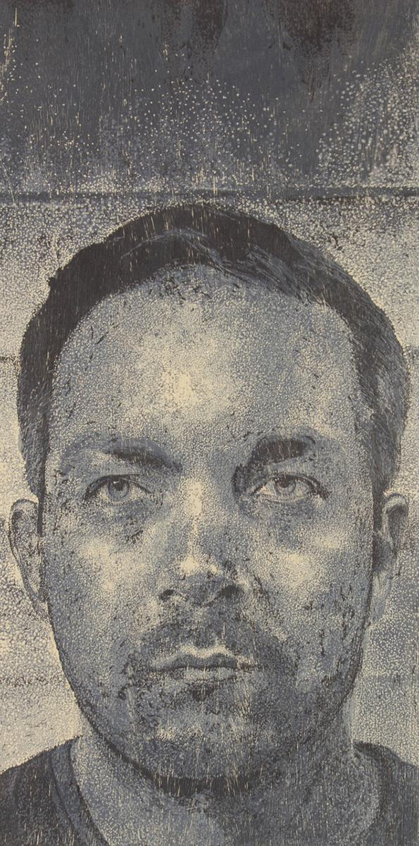 "Toan Vuong, ""William,"" woodcut, 24"" x 36"", 2013."