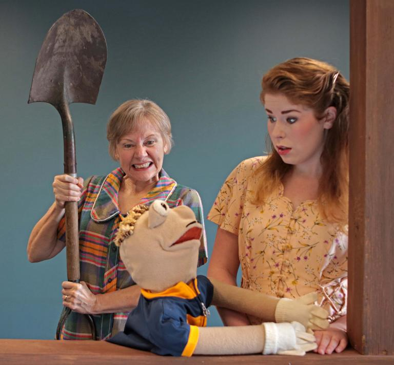 "(Left) Community guest artist Cecilia Burkhart as Gertie and (right) Abbie Austin as Claire in ""Fuddy Meers."" Photo by Doug Smith."