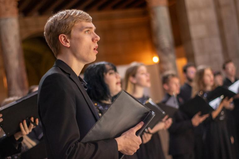 University Singers performs in the Nebraska State Capitol in early 2020.