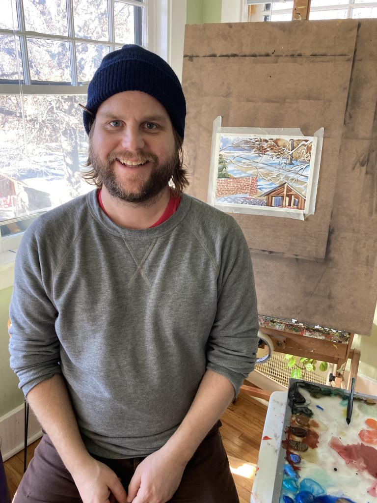 Assistant Professor of Practice Byron Anway in his home studio.