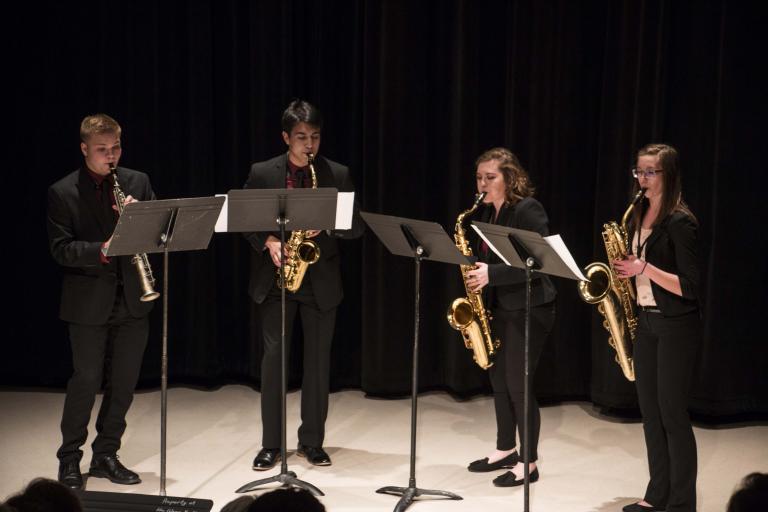 Saxophone Quartet performing in Westbrook Recital Hall