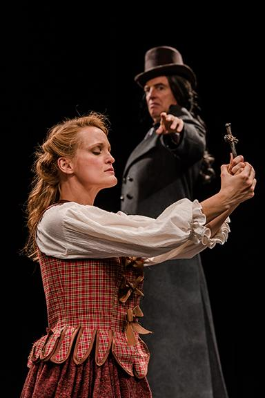 "Abbey Siegworth stars as Young Woman, and Don Richard stars as Old Man in ""Abigail/1702,"" which opens the Nebraska Repertory Theatre season on Sept. 30. Photo by John Ficenec."