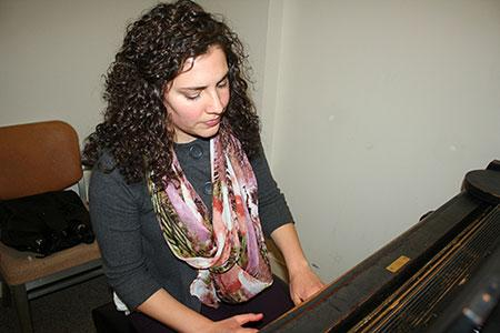 Lauren Albin practicing in the Westbrook Music Building