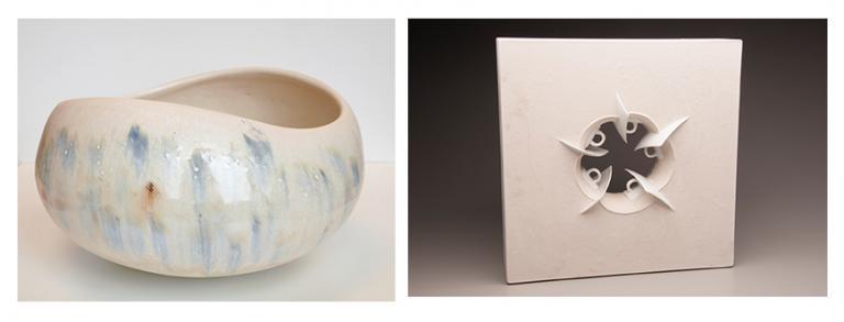 "(left) Normandy Alden, ""Landscape Bowl,"" porcelain, 7"" x 15"", 2014, and  (right) T.J. Edwards, ""5 Espresso,"" 22.5"" x 22.5"" x 6"", gypsum cement and commercially produced porcelain, 2014."