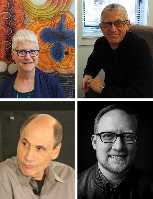 The recipients of this year's College Alumni Board Awards include (clockwise from upper left): Karen Kunc, Donald C. Gorder, Scott Raymond and Mike Hill. They will be recognized at the Honors Day Dinner on April 27.