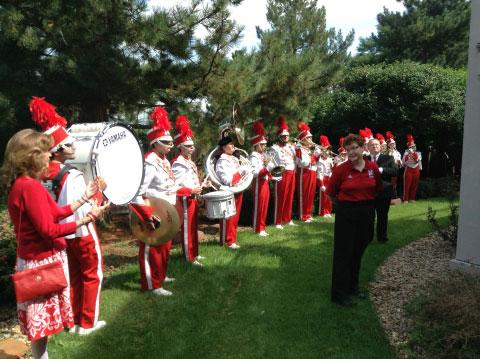 ifteen members of the University of Nebraska Cornhusker Marching Band