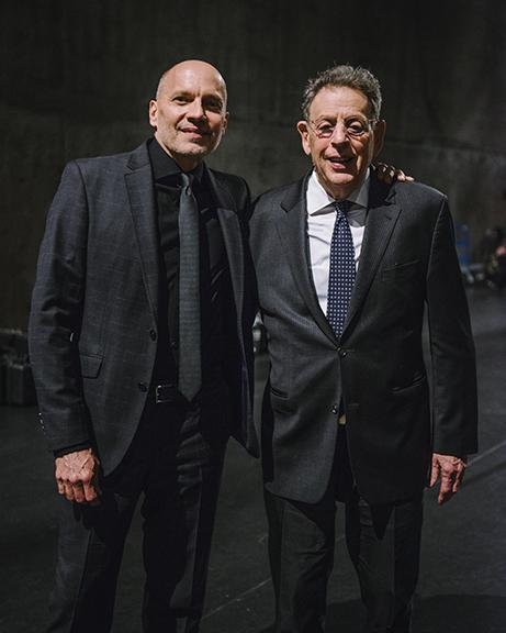 "Paul Barnes (left) with Philip Glass. ""A Celebration of Philip Glass,"" the April 2018 world premiere of a piano quintet by renowned composer Philip Glass, has won the Outstanding Event Award at the Mayor's Arts Awards. Photo by Walker Pickering."