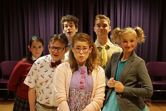 The 25th Annual Putnam County Spelling Bee. Photo by Doug Smith. Back: L-R Shade Ingraham and Hunter Mruz Front: L-R Becca Hess, Nick Prior, Abbie Austin, Desiree Bartels