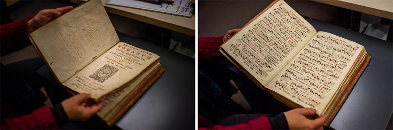 "Left: Anita Breckbill displays the title page for ""Antiphonarium Romanun,"" published in 1614. Right: An inside page from the book, donated by Karen R. Lusk to the University of Nebraska–Lincoln Libraries Special Collections. Photos by Justin Mohling."