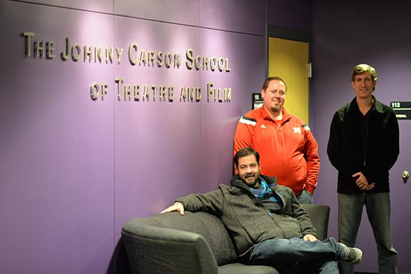 Cirque du Soleil's Mike Peters (M.F.A. 1999; right) and Ben Stephenson (seated) with Assistant Professor of Practice Mitch Critel. Photo by Michael Reinmiller.