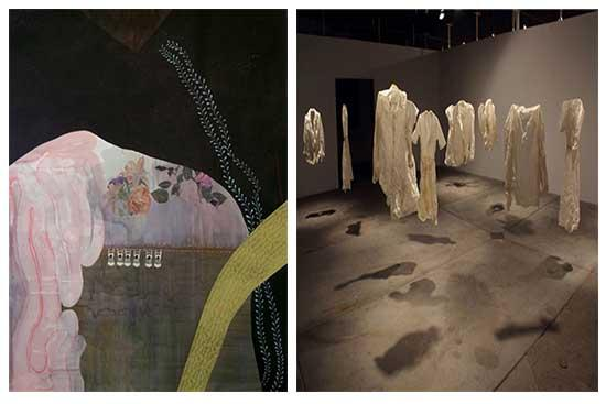 """Victoria Hoyt, """"Entering the elephant,"""" 72"""" x 58"""", acrylic, gouache, watercolor and ink on paper, 2013, and  Emma Nishimura, """"Vestige:  Navigating the Layers,"""" detail,  paper garments, installation view, 2011."""