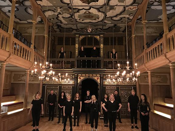 """Students from the Johnny Carson School of Theatre and Film rehearse a final production of """"Romeo and Juliet"""" at Shakespeare's Globe Theatre in London."""