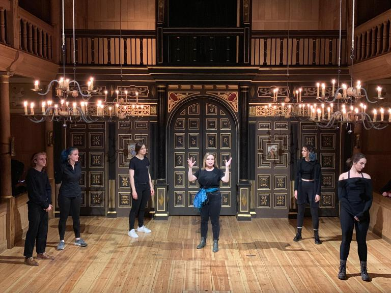Johnny Carson School of Theatre and Film students perform on the Sam Wanamaker Playhouse stage at the Globe Theatre in London. Photo by Michael Zavodny.