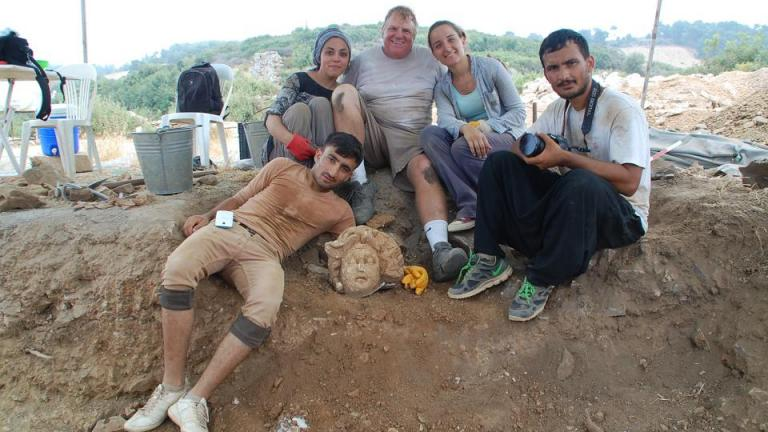 Michael Hoff (third from left), Hixson-Lied professor of art history at the University of Nebraska-Lincoln, with Turkish students who found a Medusa's head at the Antiochia ad Cragum archaeological site in Turkey.