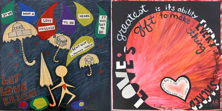 """""""Let Love Reign"""" (left) by Felicia Shaw and """"Love's Greatest Gift"""" (right) by Annette Trammel created for the American Love Project. Shaw and Trammel are teachers in the Grand Prairie ISD in Texas."""