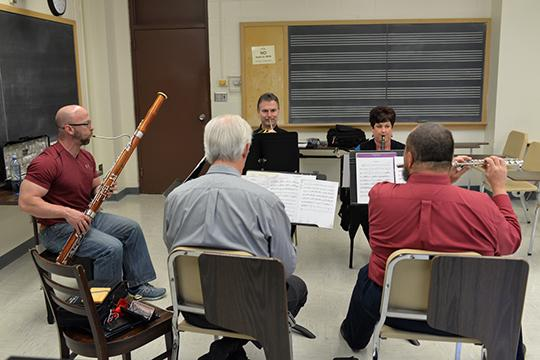 """The Moran Woodwind Quintet's fall recital on Nov. 15 will feature the premiere of a commissioned piece by Scott McAllister titled """"OK Quintet."""" Photo by Michael Reinmiller."""
