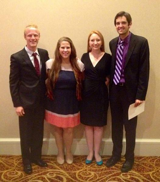 (left to right) Nathaniel Sullivan, Angela Gilbert, Kayla Wilkens and Jeremy Brown at the NATS National Conference.