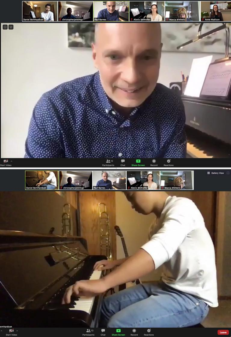 Top: Paul Barnes teaches a piano masterclass for Nebraska Young Artist Award pianists on May 16. Bottom: Daniel Bernhardson of Lincoln Christian School performs Claude Debussy's Fireworks from Preludes, Book Two.