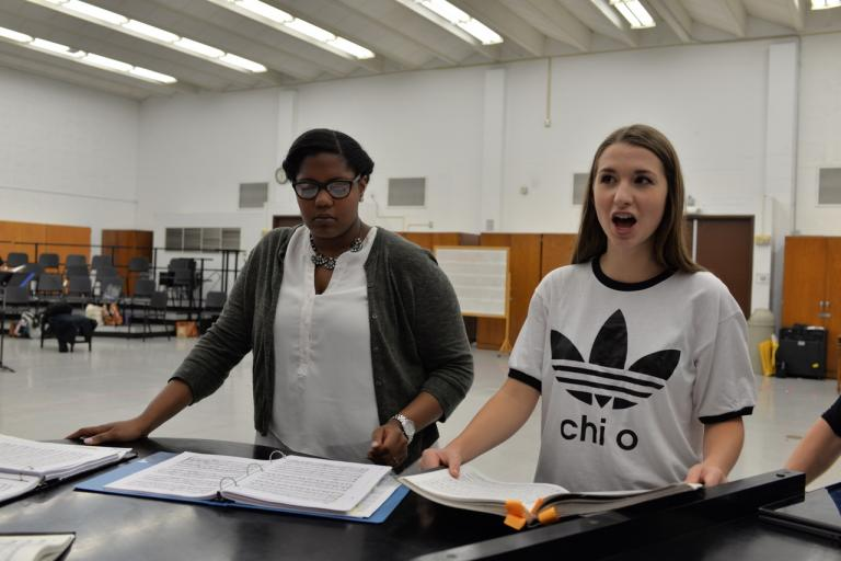 "Crystal Dunning (left) and Krista Benesch rehearse the music for ""The Ballad of Baby Doe,"" which travels to North Platte, thanks to the generosity of the James C. and Rhonda Seacrest Tour Nebraska Opera Fund. Photo by Michael Reinmiller."
