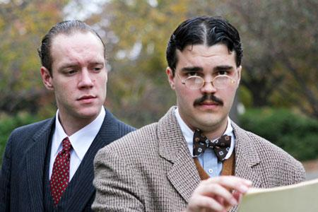 L-R) Devon Schovanec as Peter Stockman and Nate Ruleaux as Dr. Thomas Stockman.