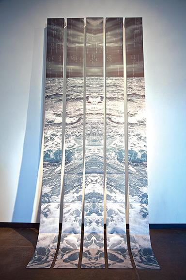 "Nicole Pietrantoni, ""Precipitous."" 14' x 6'. Inkjet on Awagami Inbe Thick, folded and bound into 5 accordion books (each 22 pages) that expand to create a panoramic image."
