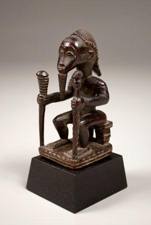 Seated male figure, Baule, Ivory Coast, wood.