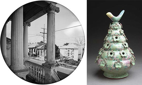 (Left) From the book: Deborah Luster, Tooth for an Eye: A Chorography of Violence in Orleans Parish, 2011. Published by Twin Palms Publishers, Santa Fe. (Right) Coli-built and shaped Tulipiere by Shoko Teruyama.