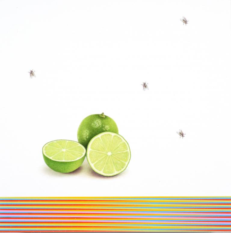 "Francisco Souto, Two Limes and Four Flies, 10"" x 10"", 2018, colored pencils on paper."