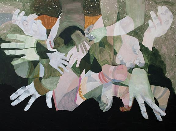 """Audrey Stommes, """"People Helping People,"""" acrylic, ink, charcoal and gold leaf on canvas, 36"""" x 48"""", 2015."""