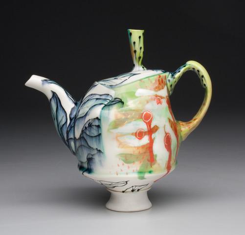"Taylor Sijan's Teapot, cone 6 oxidation porcelain with underglaze, 8"" x 8"" x 5.5"", 2020"