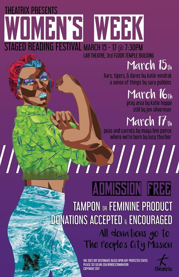 The Women's Week Staged Reading Festival has performances March 15-17 in the Lab Theatre.