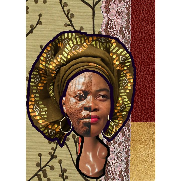 "Christie Asuoha, ""Amarachi,"" digital collage, 2020. From the series ""The Heads of Asuoha."""