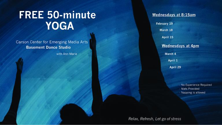 Assistant Professor of Practice Ann Marie Pollard is offering free 50-minute weekly yoga sessions this spring for students and faculty/staff in the college at the Johnny Carson Center for Emerging Media Arts.