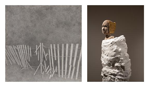 "(left) Dustin Young, ""Fragment,"" graphite, 18"" x 18"", 2013, (right) Crisha Yantis, ""Subconscious."""