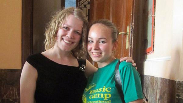 Lisabeth with a student in Bucharest