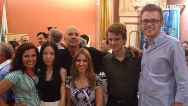 Hixson-Lied Professor of Piano Paul Barnes (center in back) with (left to right) Lauren Albin, Lei Bi, April Barnes, Travor Magness and Mark Germer in Maiori, Italy.