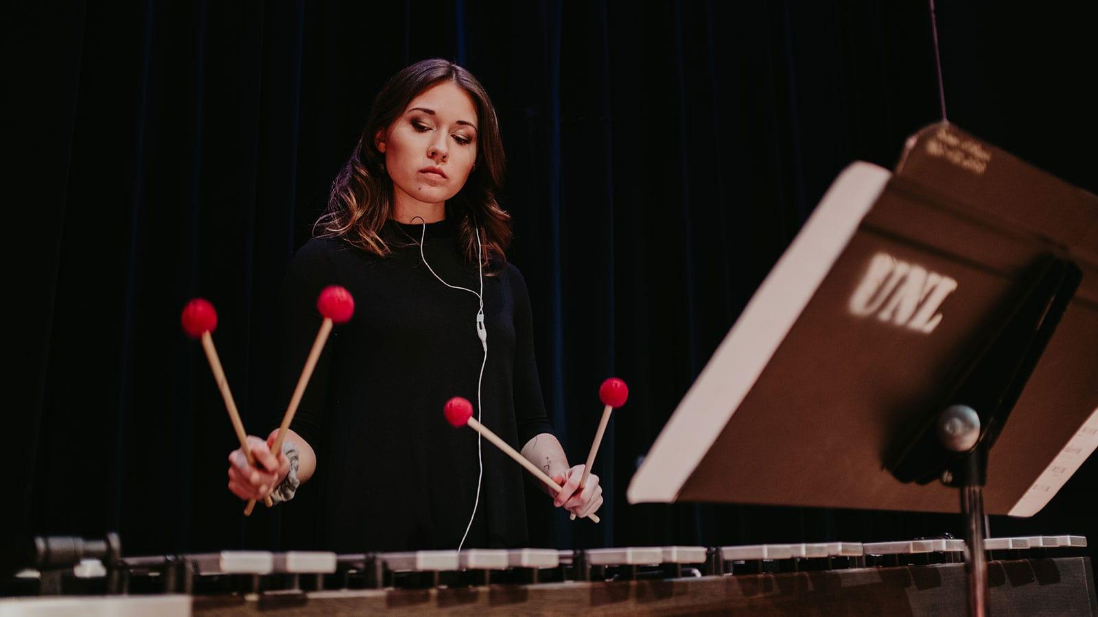 percussion music student performing