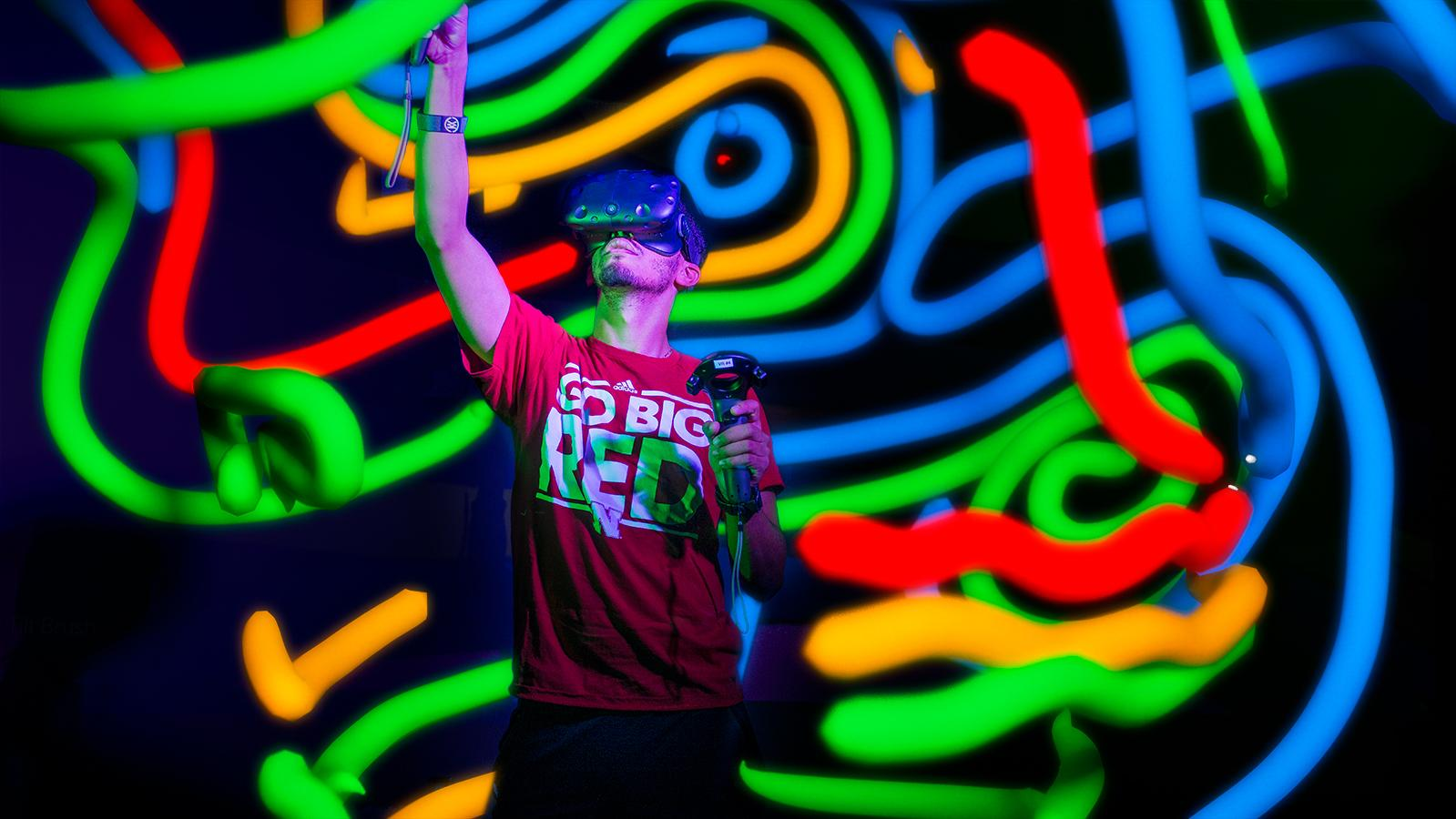 student using VR headset
